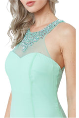 High Neck Embellished Maxi Dress - Mint