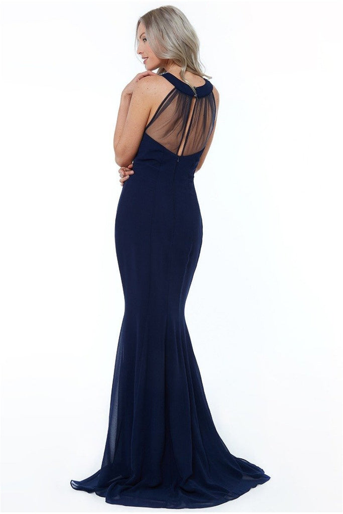 High Neck Embellished Maxi Dress - Navy