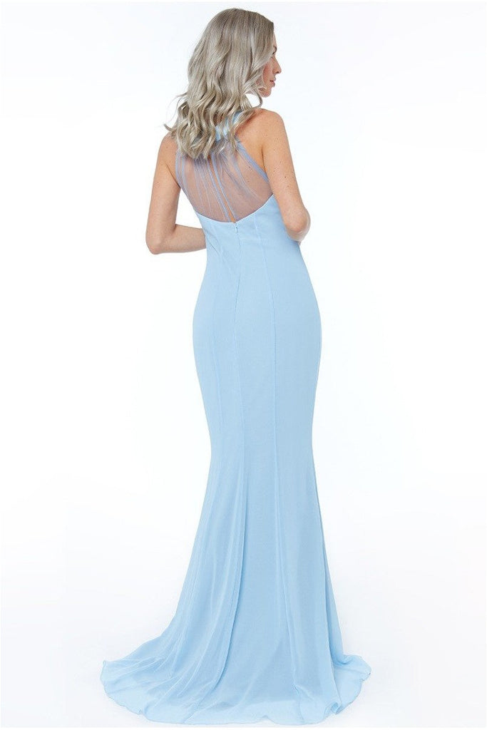 High Neck Embellished Maxi Dress - Powderblue
