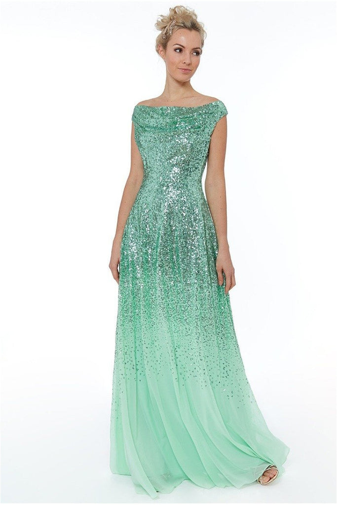 Pleated Bodice Sequin & Chiffon Maxi Dress - Mint
