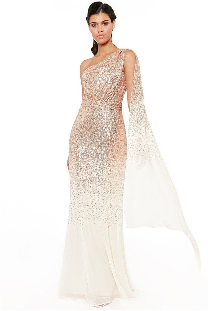 Goddiva - One Shoulder Sequin & Chiffon Maxi Dress - Champagne