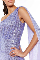 One Shoulder Sequin & Chiffon Maxi Dress - Lavender