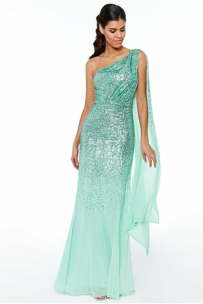 One Shoulder Sequin & Chiffon Maxi Dress - Mint