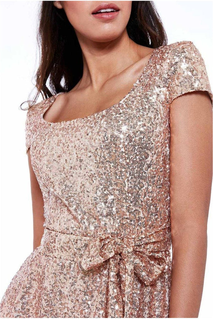 Sequin & Chiffon Belted Midi Dress - Champagne