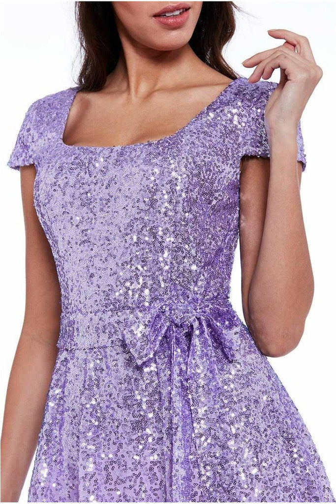 Sequin & Chiffon Belted Midi Dress - Lavender