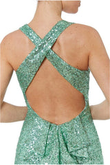 Criss Cross Back Sequin Maxi Dress - Mint