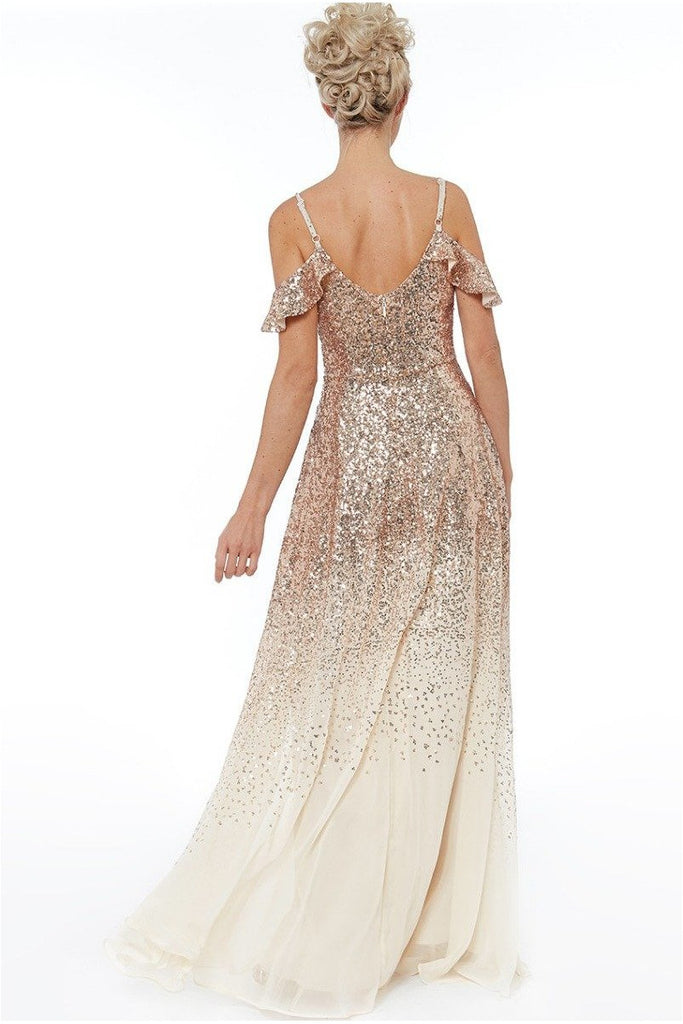 Flutter Sleeve Sequin & Chiffon Maxi Dress - Champagne