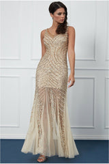 Goddiva Sequin Starshine Evening Maxi Dress - Gold