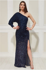 Goddiva One Sleeve Sequin Maxi Dress - Navy