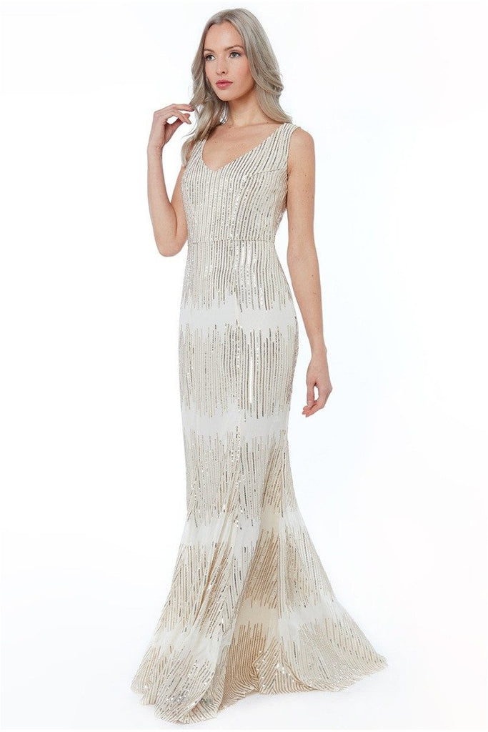 Sleeveless Sequin V Neck Maxi Dress - Champagne