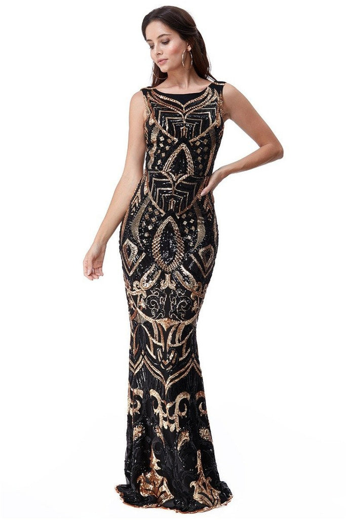 Goddiva Sequin Embroidered Maxi Dress - Black
