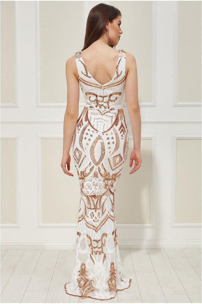 Goddiva - Sequin Embroidered Maxi Dress - Whitegold