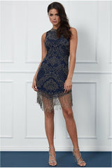 Goddiva Fringe Hem Embellished Mini Dress - Navy