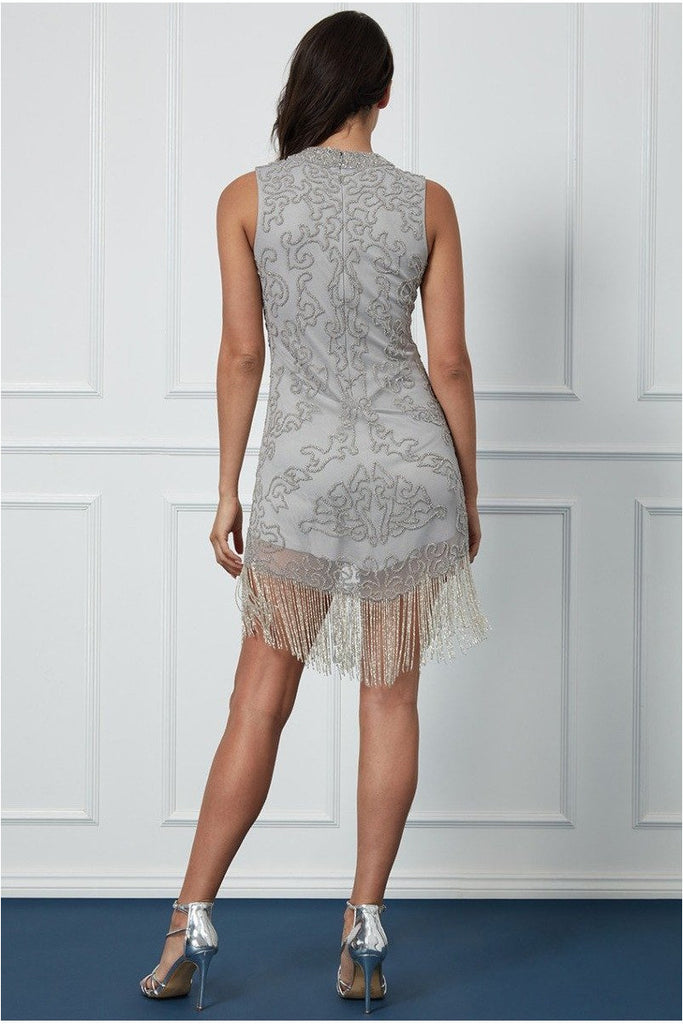 Goddiva Fringe Hem Embellished Mini Dress - Silver