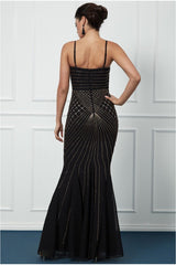 Goddiva Sleeveless Embellished Maxi Dress - Black