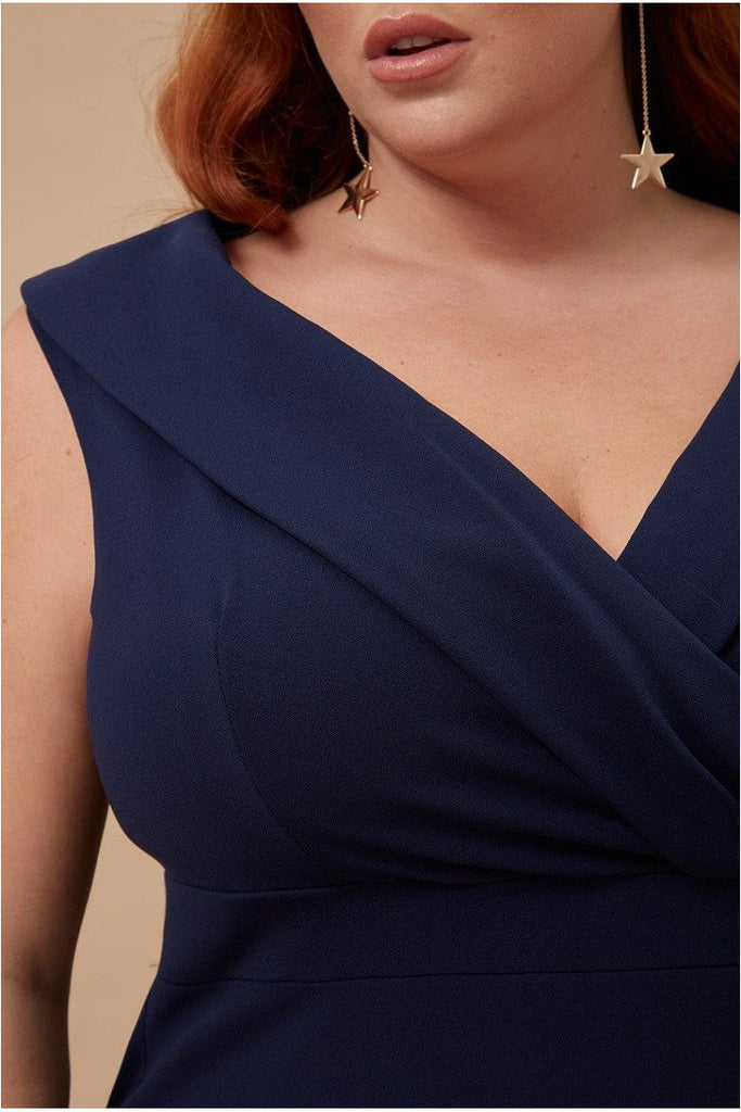 Goddiva Plus Front Wrap Off the Shoulder Maxi Dress - Navy