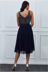 Goddiva Sequin Bodice Pleated Midi Dress - Navy