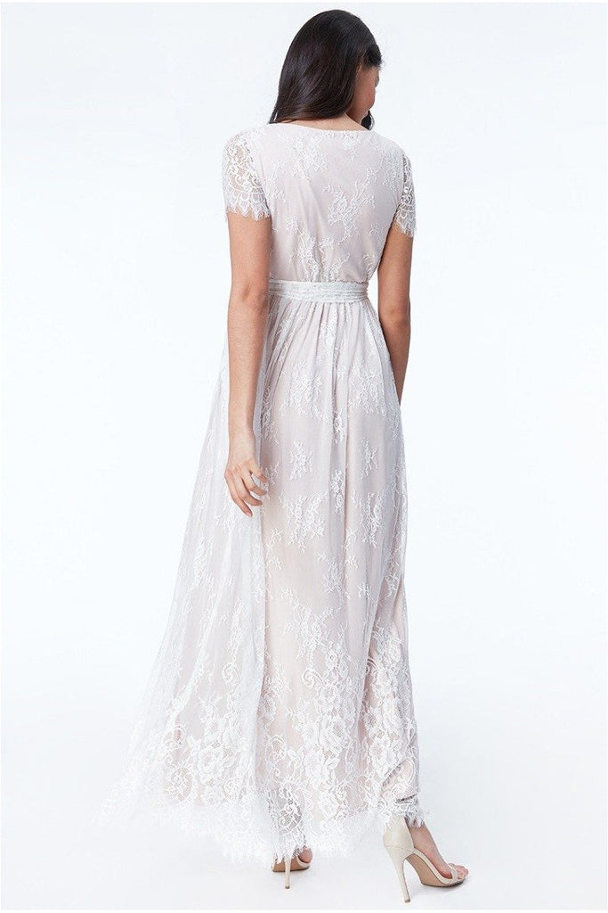 Goddiva - Scalloped Hem Lace Maxi Dress - White