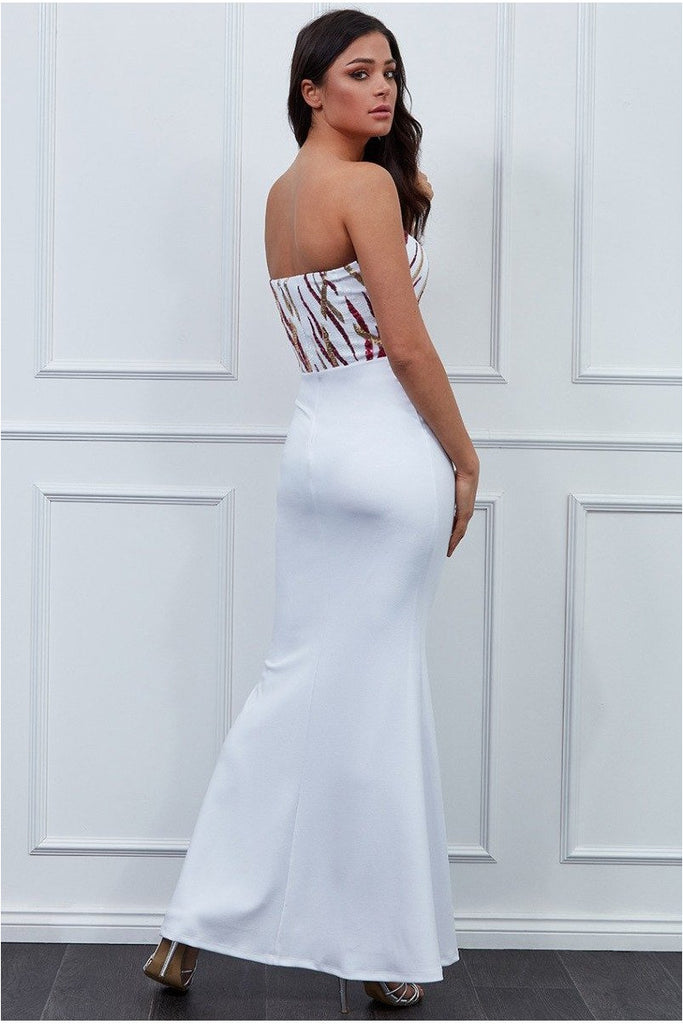 Goddiva - Sequin Bandeau Maxi Dress - Whitecerise