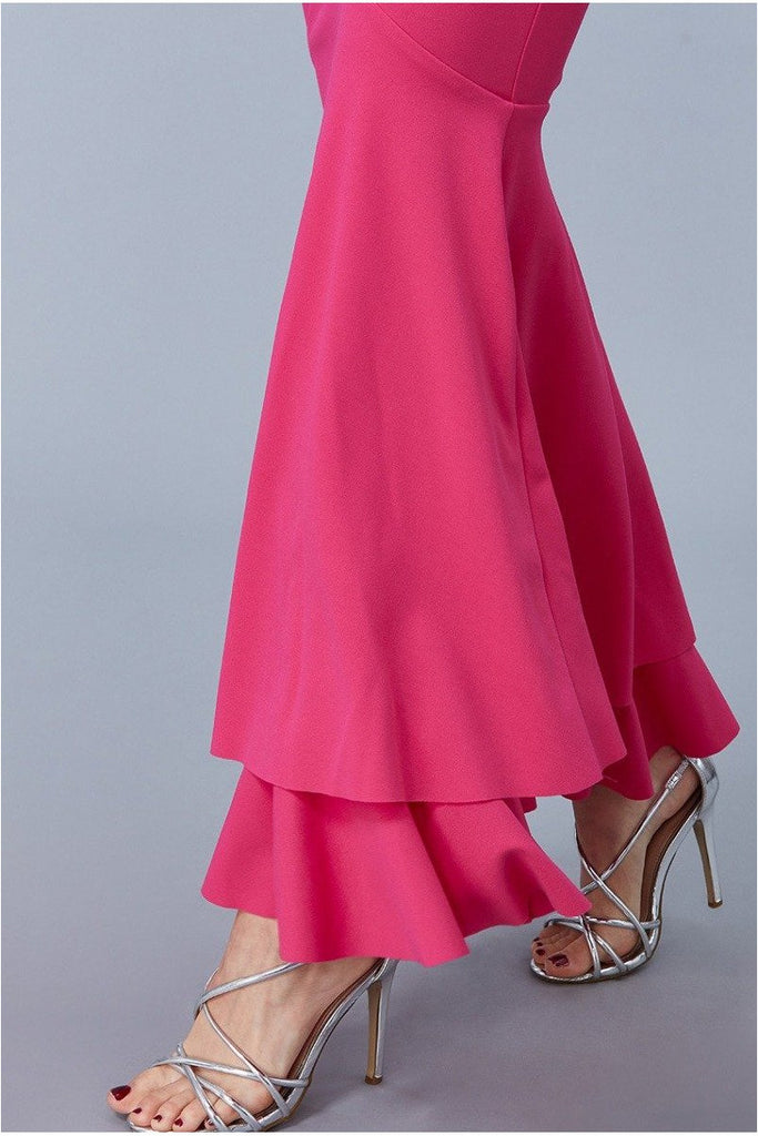 Goddiva - Double Hem Frill Maxi Dress - Cerise