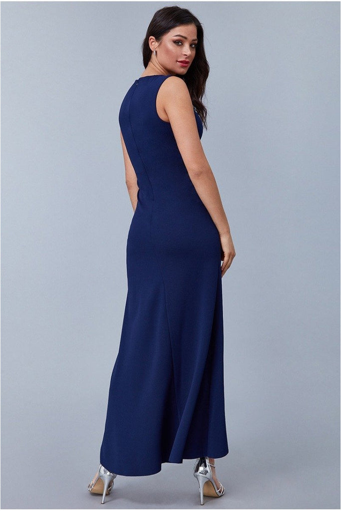Goddiva Scuba Crepe Frill Maxi Dress - Navy