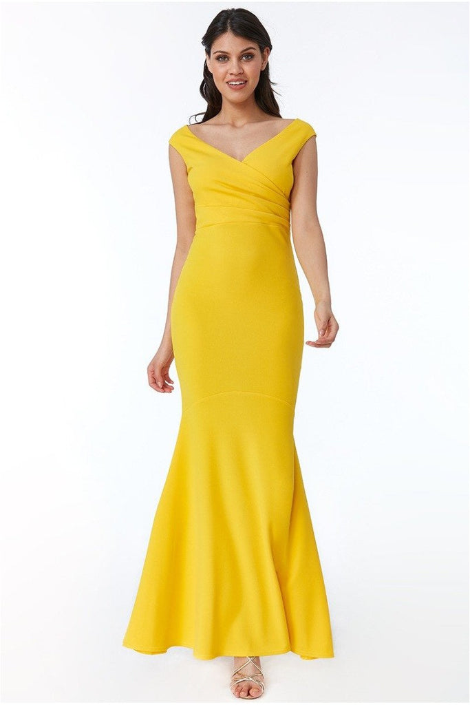 Goddiva - Pleated Wrap Hem Frill Maxi Dress - Lemon