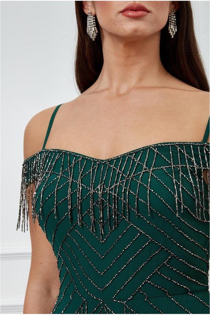 Goddiva Beaded Fringe Bardot Maxi Dress - Emerald