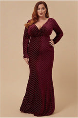 Goddiva Plus Velvet Stripe Maxi Dress - Wine