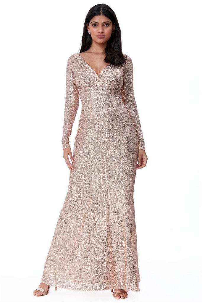 Goddiva Sequin Stripe Maxi Dress with Long Sleeves - Champagne