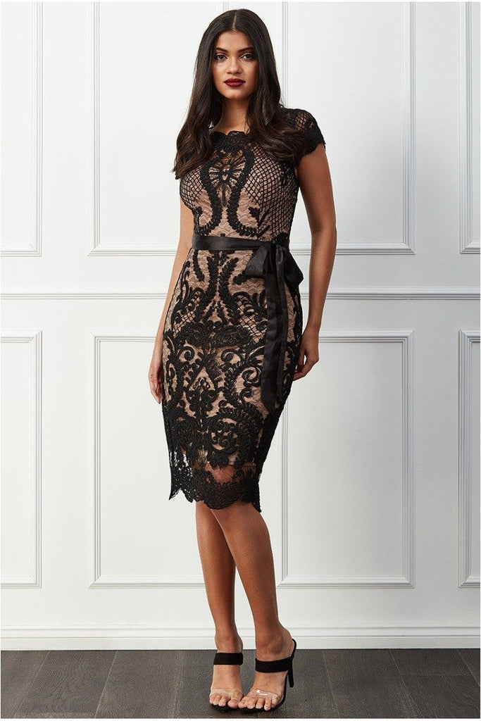 Goddiva Scallop Hem Lace Midi Dress - Black