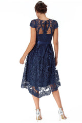 Goddiva Scalloped Edge High Low Dress  - Navy
