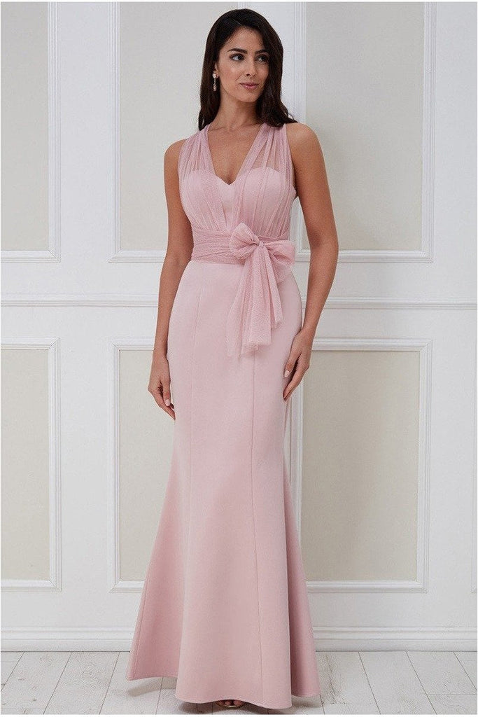 Goddiva Boobtube Multi-tie Maxi Dress - Blush