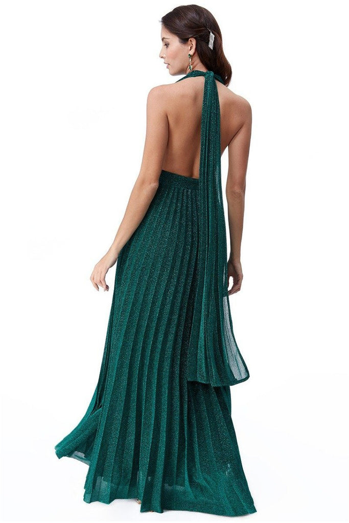 Goddiva Deep V Neck Lurex Maxi Dress - Emerald