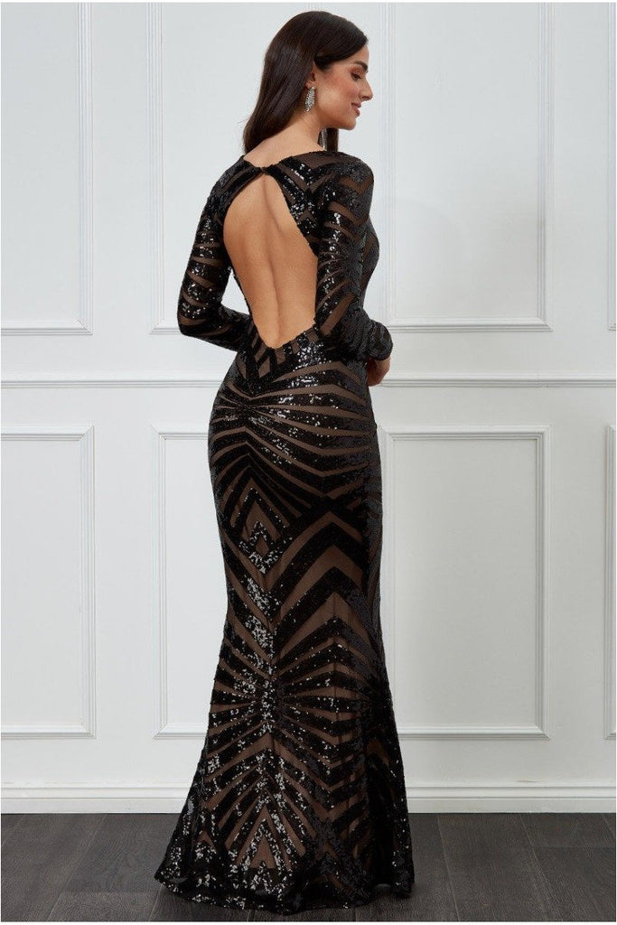 Goddiva Geometrical Sequin Open Back Maxi Dress - Black