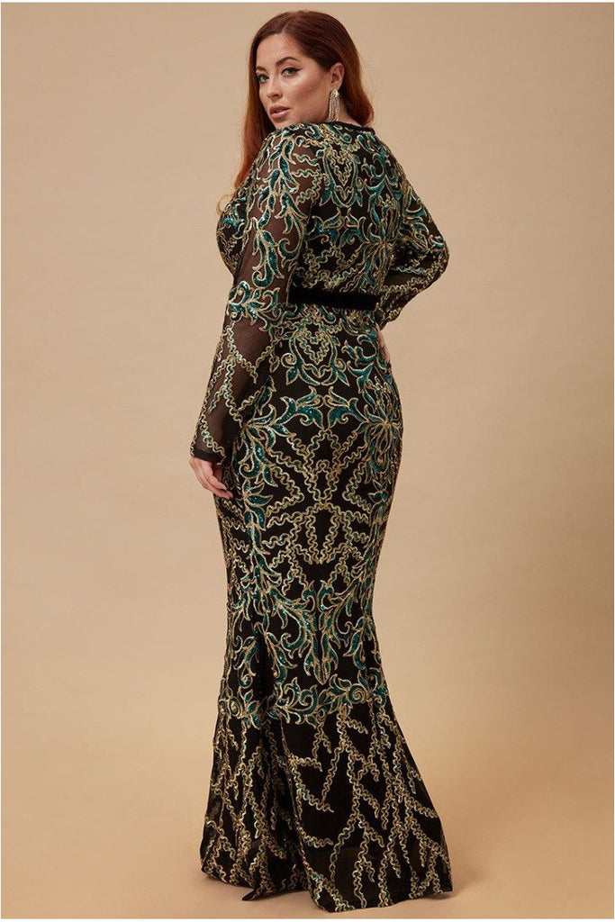 Goddiva Plus Sheer Sleeve Sequin Maxi Dress - Emerald
