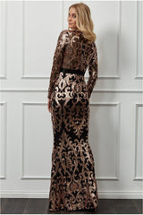 Goddiva Embroidered Sequin & Mesh Maxi Dress - Champagne