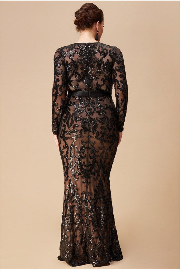 Goddiva Plus Embroidered Sequin & Mesh Maxi Dress - Black