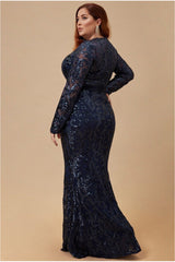 Goddiva Plus Embroidered Sequin & Mesh Maxi Dress - Navy