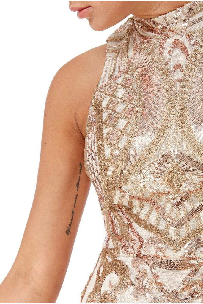 Goddiva High Collar Sequin Midi with Scalloped Hem - Gold