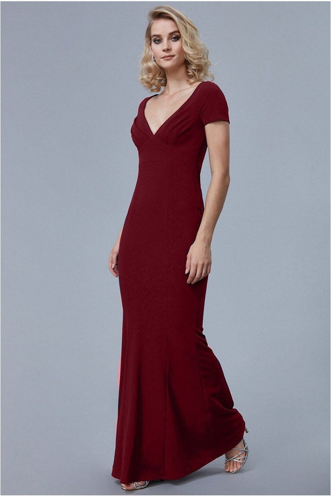 Goddiva Sweetheart Neck Maxi Dress - Wine