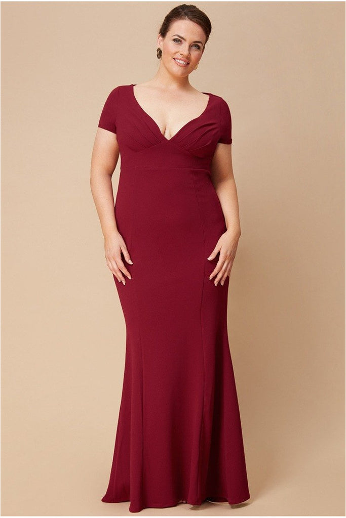 Goddiva Plus Sweetheart Neck Maxi Dress - Wine