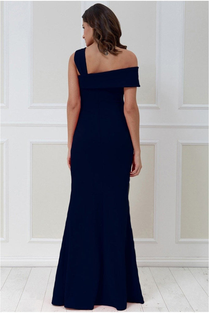 Goddiva Off the Shoulder Pleated Waist Maxi Dress - Navy