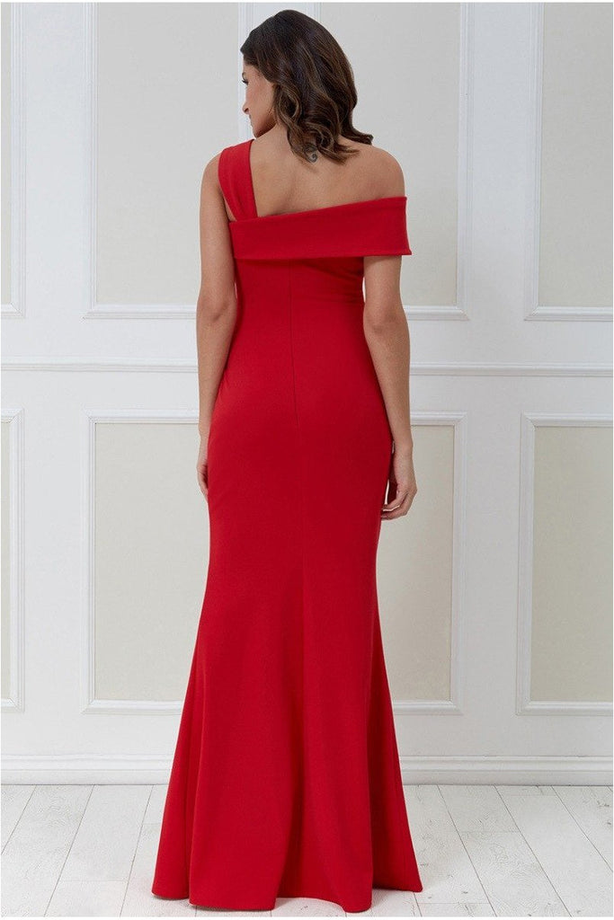 Goddiva Off the Shoulder Pleated Waist Maxi Dress - Red