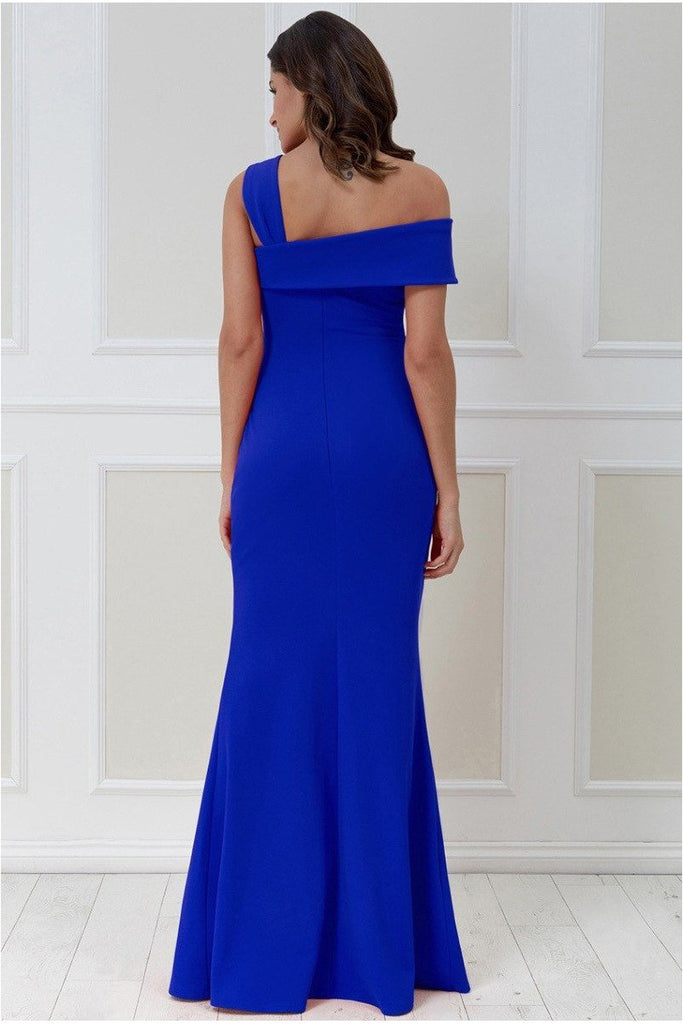 Goddiva Off the Shoulder Pleated Waist Maxi Dress - Royalblue