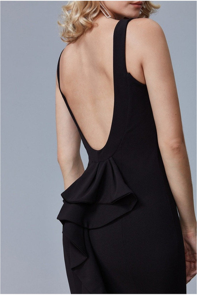 Goddiva Halter Open Back Maxi Dress with Frill Detail - Black