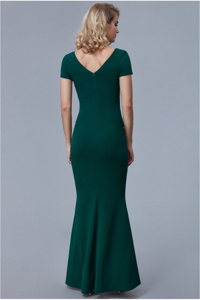 Goddiva Crossover Top Maxi Dress - Emerald