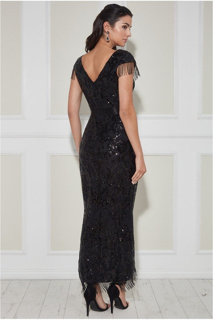 Goddiva Fringe Hem Maxi Dress - Black