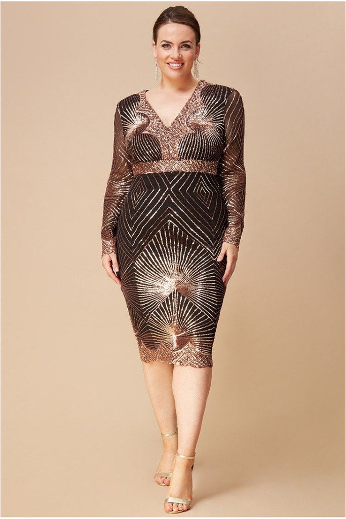 Goddiva Plus Scalloped Hem Starburst Midi Dress - Rosegold