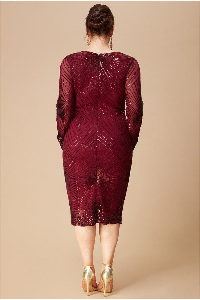 Goddiva Plus Scalloped Hem Starburst Midi Dress - Wine