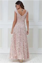 Goddiva 3D Flower Mesh Maxi Dress - Blush